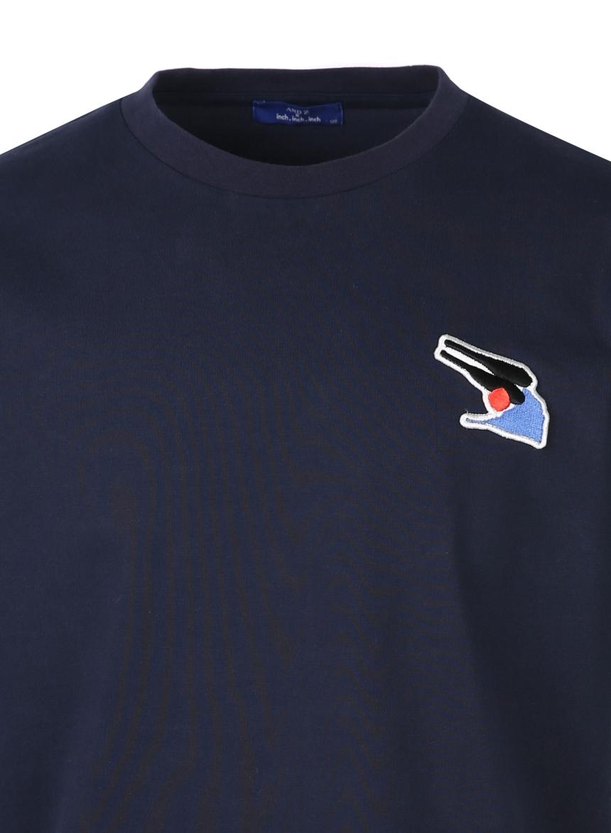 앤드지(AND Z) [앤드지X차인철 콜라보]자수와펜 세미오버핏 티셔츠(NV)_BZZ2TR1121NV