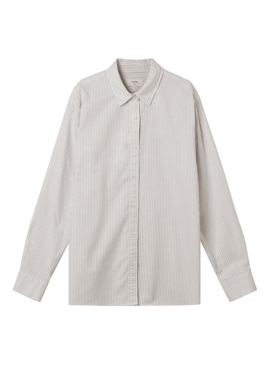 탑텐(TOPTEN) 여성) 코튼 옥스포드 오버핏 긴팔 셔츠_MSA1WC2001
